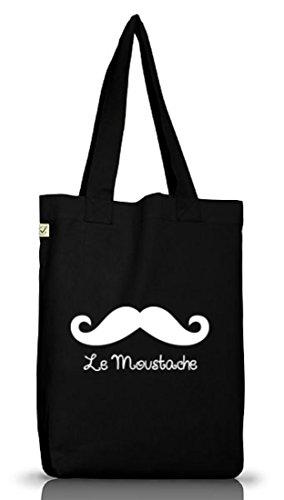 Shirtstreet24, LE MOUSTACHE, Mustache Schnurrbart Jutebeutel Stoff Tasche Earth Positive (ONE SIZE) Black