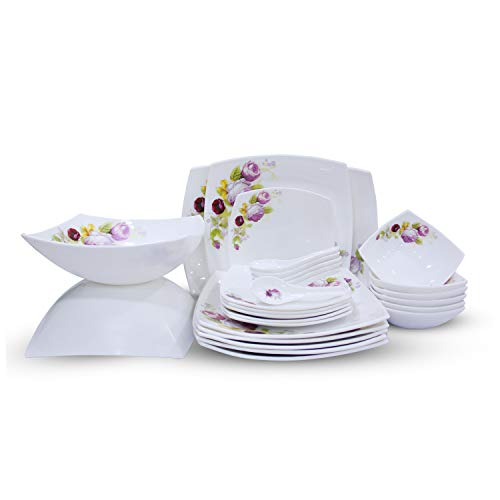 Soogo Opalware Dinner Set, 27-Pieces, White and Purple
