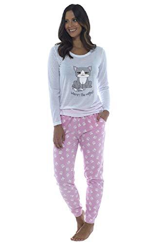 Follow That Dream Damen-Katzen-Design-Pyjama-Set mit Paw Print-Fleece-Böden (Medium - EU 40-42, Rosa)