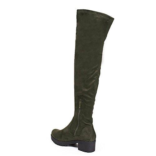 Ideal Shoes–Stivali da letto effetto camoscio con suola crantrée Zaina Verde