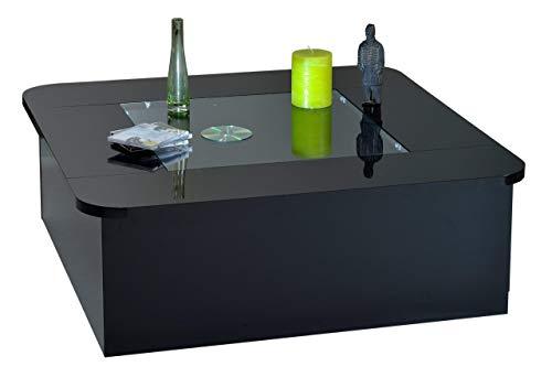 Sciae 14Sk2922 Floyd 38, Couchtisch quadratisch mit Glaseinlage, 1 Klapptür, 100 x 100 x 35 cm, Hochglanz-schwarz-lackiert