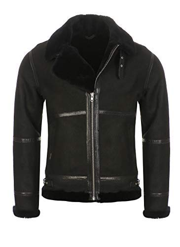 Hollert German Leather Fashion Bomberjacke - B9 Herren Lammfelljacke Winterjacke Größe M, Farbe Model 1 - Schwarz