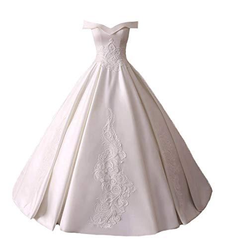 O.D.W Damen Satin Lange Vintage Party Brautkleider Formales Abendmode Ballkleider