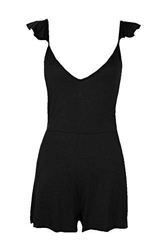 Noir Femmes Frances Ruffle Shoulder Jersey Playsuit Noir