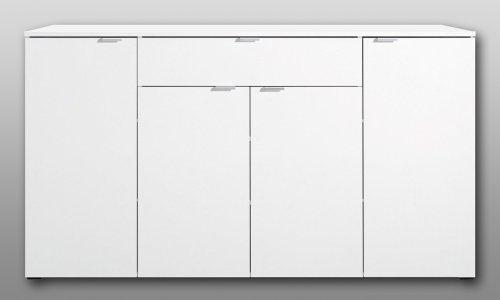 Kommode in weiß, 4 Türen und 1 Schubkasten, mit Türdämpfung und Selbsteinzug, Maße: B/H/T ca. 181,5/101/38,5 cm