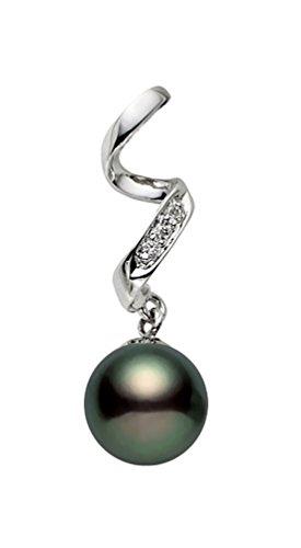 14K Or japonais de qualité AAA Pendentif Perle de culture Akoya Diamant Noir