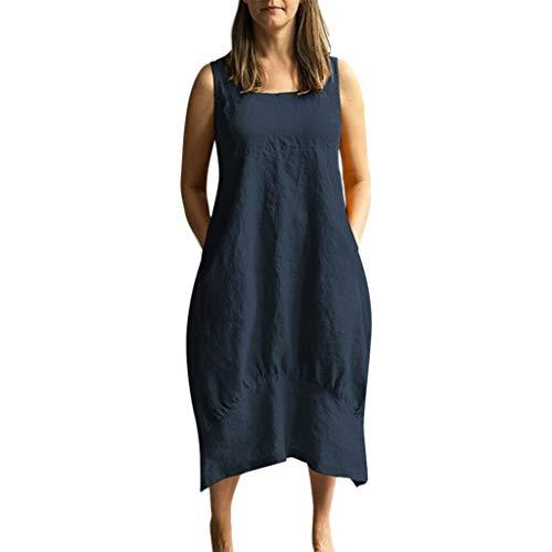 Damen Leinenkleid Sommer Lang Tunika Kleid Vintage Baggy Party Kleider Langarm Baumwolle Leinen Kleid Maxikleid Strandkleid Große Größe S-5XL (S/EU:34, Marine) -
