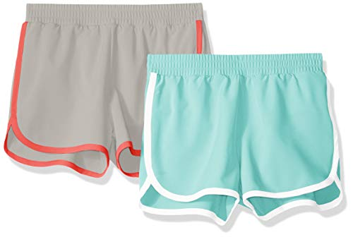 Amazon Essentials Mädchen-Shorts, Active Wear, 2er-Pack, Aqua/Grey, US XL (EU 146 -152 CM)
