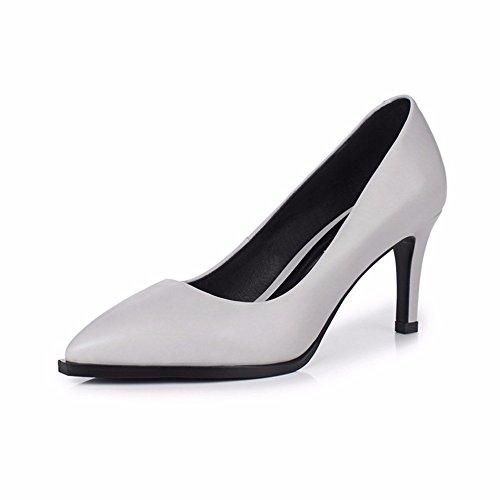 Hxvu56546 Haute Talons Chaussures Nouvelle Automne Bouche Pointue Peu Profond Profond De Travail Chaussures Mince Chaussures Femmes Gris