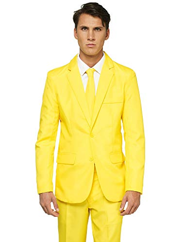 red Suits for Men - Costumes Include Jacket Pants and Tie, L, Plain Yellow ()