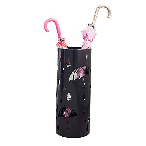 Schirmständer aus Metall mit Auffangschale und 3 Haken, für Gehstöcke - 20x50cm (Farbe : SCHWARZ)