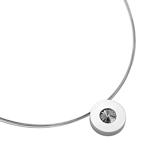 Heideman Halskette Damen Lumen aus Edelstahl Silber farbend matt Kette für Frauen mit Swarovski Stein Kristall Black Diamond grau im Fantasie Edelsteinschliff 10mm