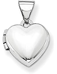 ICE CARATS 14k White Gold Heart Shaped Photo Pendant Charm Locket Chain Necklace That Holds Pictures Fine Jewelry Gift Set For Women Heart