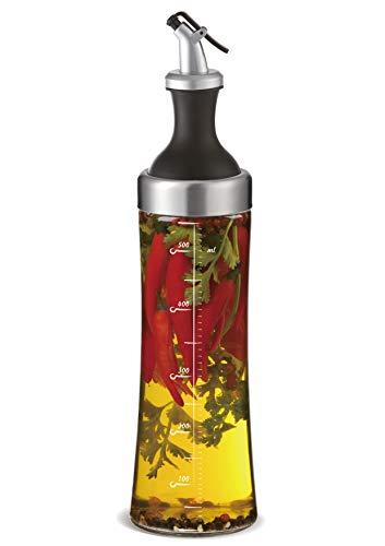 A|M|I|N|A Ölflasche Glas mit integriertem Kräutersieb - 570 ml Öl Spender zur Herstellung von Aroma-Öl | Auslaufsicher und Spülmaschinenfest - Olivenöl-glas-glas