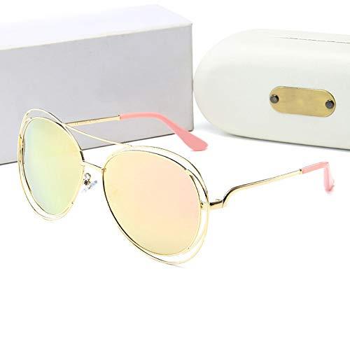 Yiph-Sunglass Sonnenbrillen Mode Gold Wire Rim, Polarisierte Damen Sonnenbrille mit elegantem UV-Schutz, (Farbe : Gold Frame/pink) Pink Rim