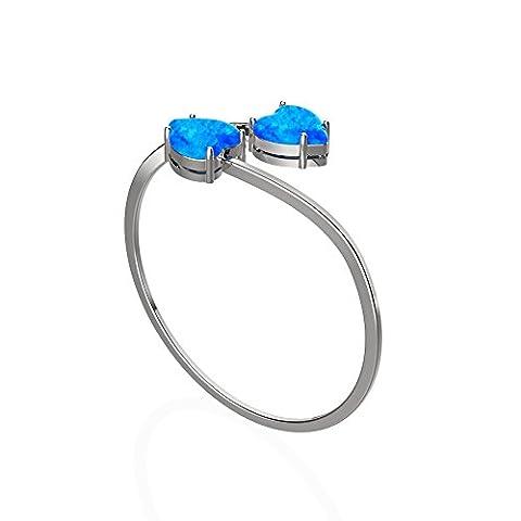 LANMPU 925 Sterling Silber Erstellt Blaue Feueropal Mode Ringe Rhodium Beschichtung für Frauen und Mädchen