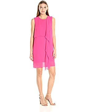 French Connection Damen Partykleid James Sheer S/Lss Blok Frill