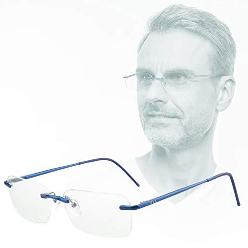 Edison & King Lesebrille Free randlose Brille aus Aluminium mit Federscharnieren - extra leicht (mit Entspiegelung und Etui, Blau, 2,50 dpt)