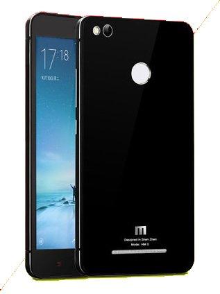 SDO™ Aluminium Side Panel Glass Back Cover Pouch Battery Injection Case for Xiaomi Redmi 3S Prime / Redmi 3S Pro (Black)