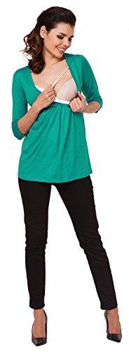Zeta Ville - Damen Still T-Shirt Wickeldesign Top für Schwangere Gr M-3XL - 372c Teal
