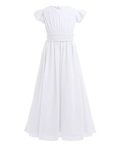 Tiaobug Blumenmädchenkleid festlich Mädchen Kleid Kinder Lange Chiffon Kleider Hochzeit Partykleid...