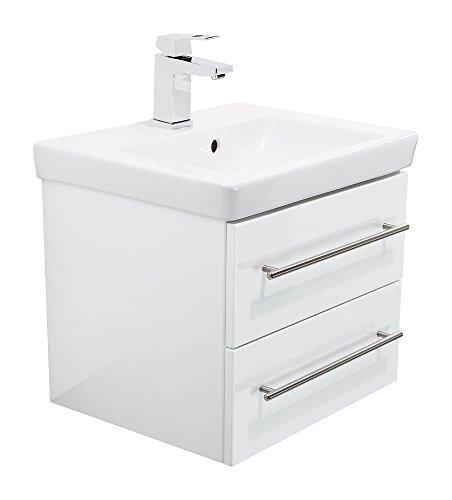 Emotion SUBWAY2-0-50CM000101DE Waschbecken mit Unterschrank, Holz, weiß hochglanz, 50 x 39 x 40 cm