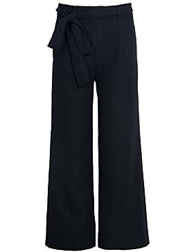SYGoodBUY Pantalones de Mujer Ancho Fluido Elegante Pantalones Cintura Alta Casual Chic con Cinturón de Moda