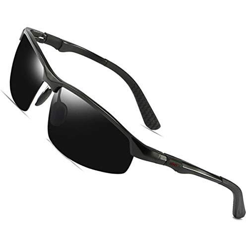 AXNYLHY Aluminium-Magnesium polarisierte Sonnenbrille Sport Fahrradbrille Fahren Strand Sonnenschutz Sonnenbrille 100% UV-Schutz,Black