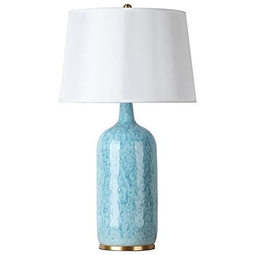 ZDHG Tischlampe,Nachttischlampe,Nachttischlampe Keramik,Moderne Home Art Deco Tischlampe, Lampenschirm Stoff/Keramik Lampenkörper Aus Leinen, Geeignet Für Wohnzimmer, Schlafzimmer, Lobby,