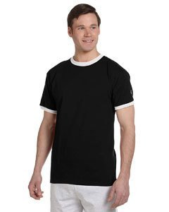 Champion 6.1 oz. Tagless Ringer T-Shirt - BLACK/WHITE - S (Short T-shirt Ringer White Sleeve)