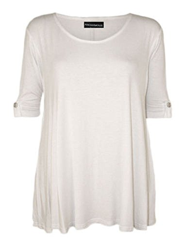 Fashion Fairies Damen Tunika, Rundhalsausschnitt, lang, Gr. 42 - 60 Weiß - Weiß