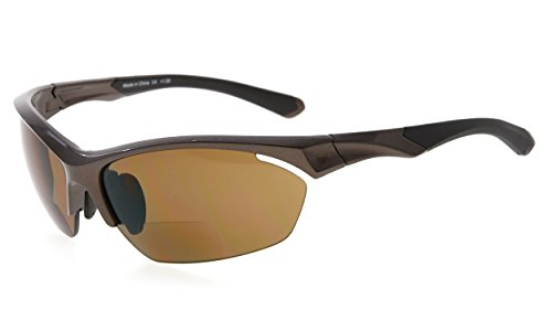 Eyekepper TR90 Sport Bifokale Sonnenbrille Baseball Laufen Angeln Fahren Golf Softball Wandern Halbrandlose Lesebrille (Perliges Braun, 1.50) (Sonnenbrille Leser 150)