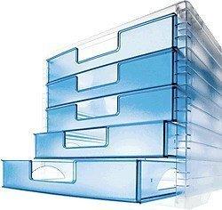 Schubladenbox LightBox, Farben Korpus/Schubladen transparent/lagoonblau