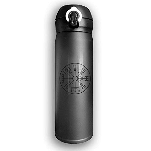 Bestqe Vakuumisolierte Trinkflasche,Wasserflasche,Thermosflasche, Viking Symbol Nordic Compass Stainless Steel Mug 17 OZ Double Walled Vacuum Insulated Water Bottles 17 Oz Mug