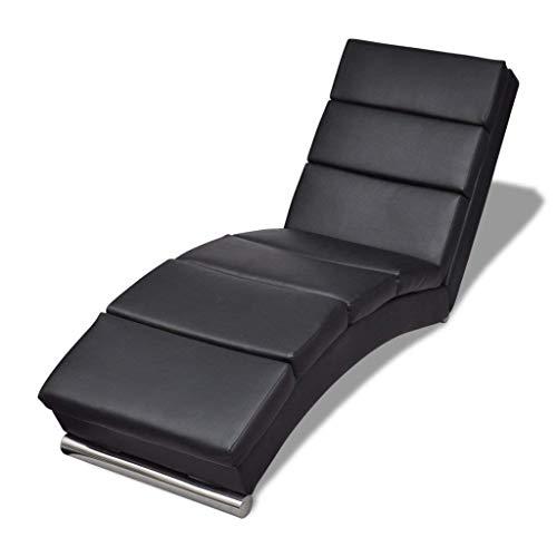 mecor Chaise Longue/Canapé/Méridienne Salon en Cuir Chaise de détente Moderne Noir