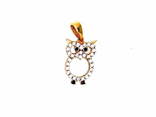Pegaso gioielli - ciondolo oro rosa 18kt gufo aperto con zirconi - pendente gufetto donna ragazza bambina