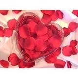200 textile Rosenblätter, rot, Herzbox