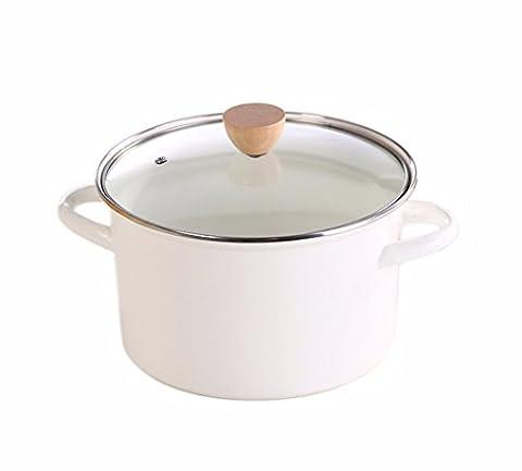 XiangYan Pot d'émail épais de grande capacité pour les poêles à gaz et cuisinière électrique,24cm,4.2L,blanc