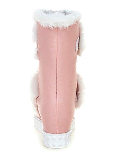 YE Damen Wedges Plateau High Heels Stiefel mit Fell Keilabsatz Winter Warm Gefüttert Schneestiefel Rosa