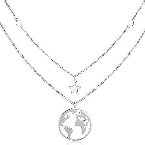 Silber kette Damen mit Weltkarten Anhänger 925 Sterling Silber Doppelkette Halskette Schmuck für Frauen Madchen Kettenlänge 18 Zoll mit Geschenkbox