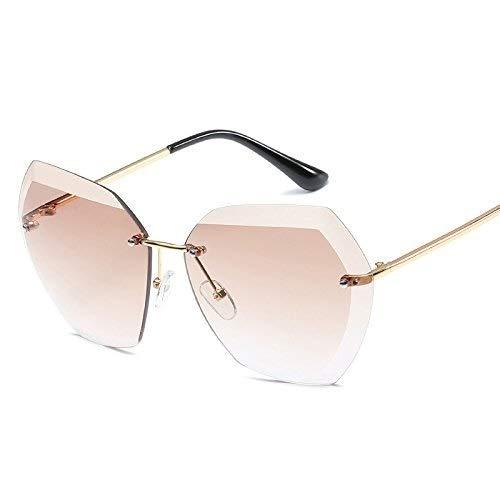 Bestehen Sie immer auf Erfolg Randlose Sonnenbrille Retro ovale Sonnenbrille transparente Sonnenbrille UV-Schutz für Männer und Frauen (Color : Natural)