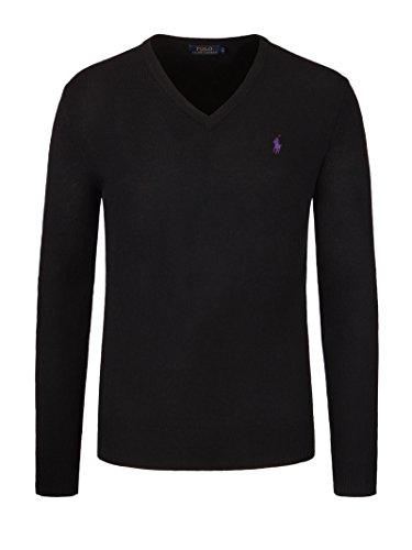 polo-by-ralph-lauren-pullover-v-neck-schwarz-lila-reiter-l-slim-fitpima-cotton
