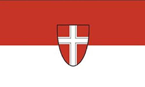 Flagge/Fahne WIEN mit Wappen Staatsflagge/Landesflagge/Hissflagge mit Ösen 150x90 cm, gute Qualität