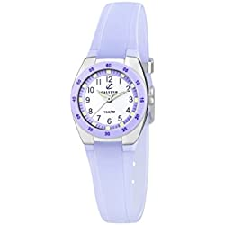 Calypso Women's Quartz Watch with White Dial Analogue Display and Purple Plastic Strap K6043/E
