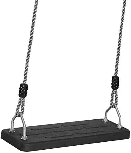 WEHOLY Schaukel Hängematte Holz Kunststoff Langlebig Einfach Gummi Schaukeln Erwachsene Kinder In/Outdoor Langlebig Sitzplatte rutschfest Bequemes Sitzen Brett Schaukeln (Farbe: Schwarz, Größe: 17,