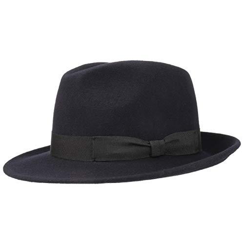 Lipodo Basic Bogart Filzhut - Bogarthut aus 100% Wollfilz - Wollfilzhut Damen/Herren - Fedora Made in Italy - Hut Sommer/Winter - Wollhut dunkelblau S (54-55 cm)