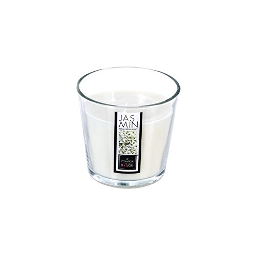 Bougie parfumée au jasmin - 13,5 x 12,5 cm - Verre - Blanc