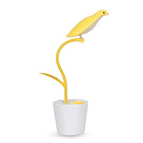 ipuis Oiseau Dimmable LED Lampe de Lecture/Chevet Lumière Naturelle, Anti-Myopie Flexible Rechargeable pour Enfants Pot à Crayons Jaune