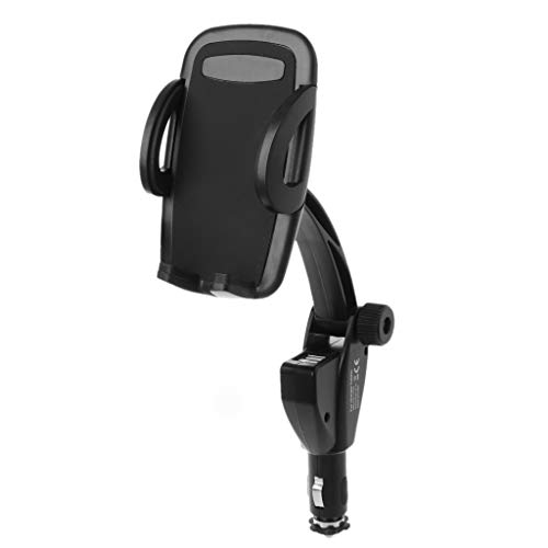 Verstellbar Mobile Base (Werst 3 in 1 Kfz-Halterung für Zigarettenanzünder/Handy-Ladegerät, Dual-USB-Ladegerät, verstellbar, 180 Grad drehbar, MP5, GPS-Halterung)