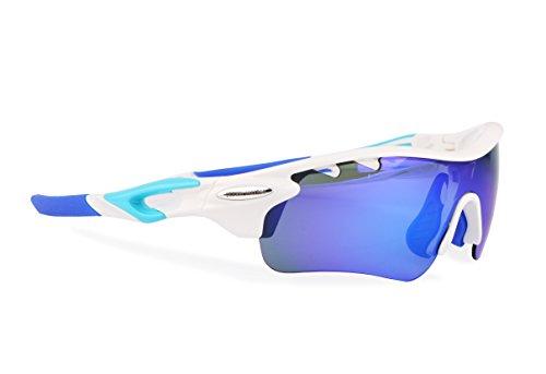 Fietsbril gepolariseerd met 5 400 UV verwisselbare lenzen. Sportbril, hardlooppad running, mountainbiken, voor heren en dames (wit)